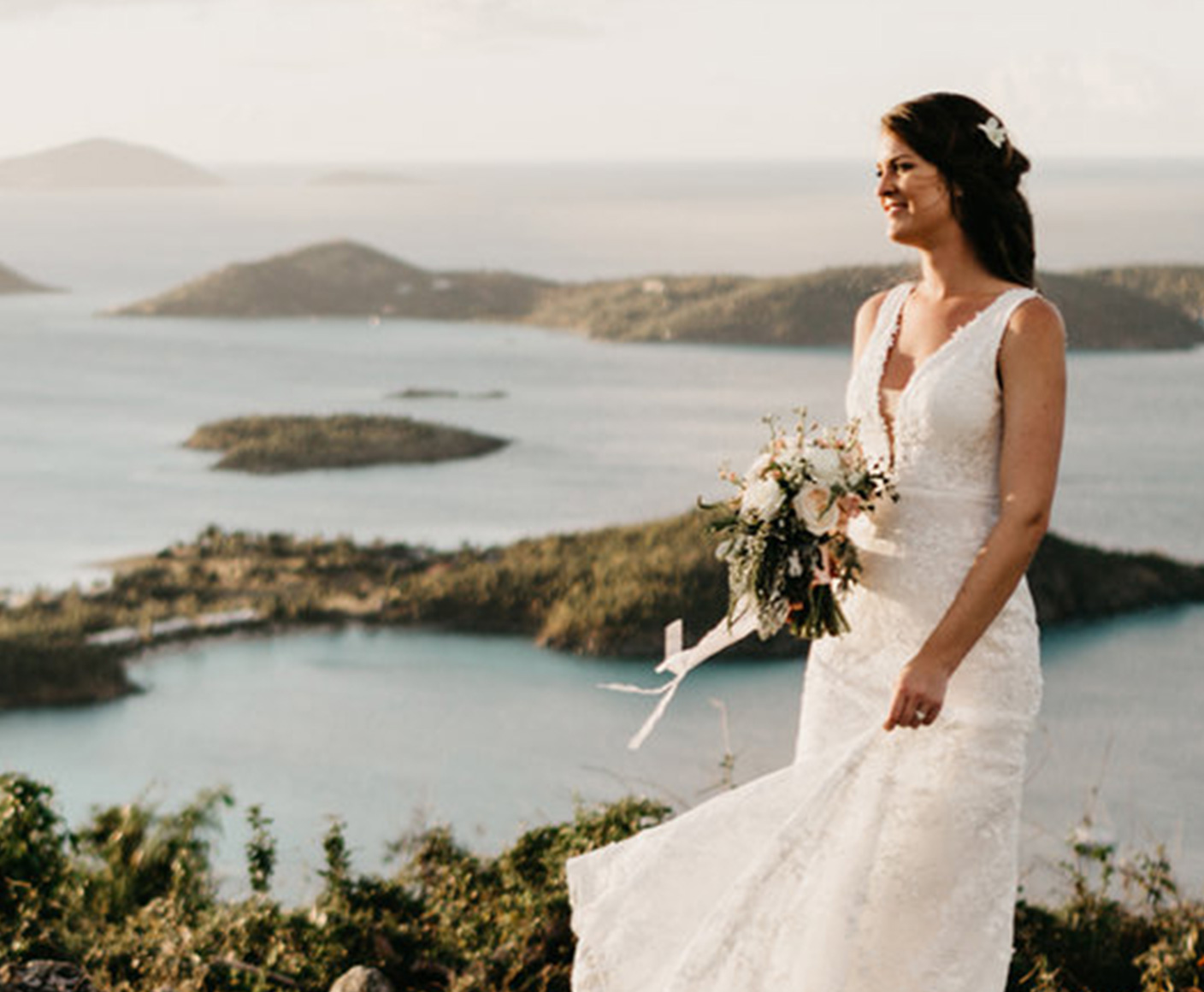 Wedding bride overlooking Cruz Bay, St. John USVI