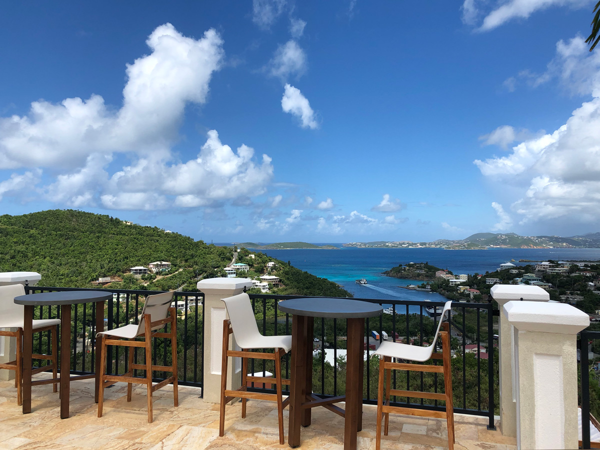 Daytime view of the Cruz Bay from the terrace at The Hills